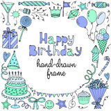 Happy birthday greeting card. Banner, frame with text. Vector illustration Royalty Free Stock Image