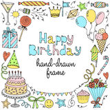 Happy birthday greeting card. Banner, frame with text. Vector illustration Stock Photo