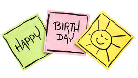 Happy Birthday greeting card or banner. Handwriting on isolated sticky notes Royalty Free Stock Images