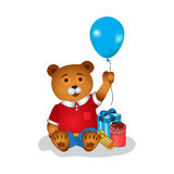 Happy birthday greeting card with bear Stock Images
