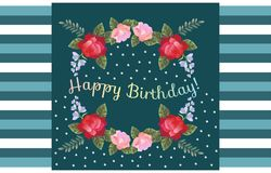 Happy Birthday greeting card with beautiful flowers on striped background.  royalty free illustration