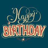Happy birthday greeting card with a beautiful inscription stock illustration