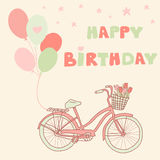 Happy Birthday greeting card with bicycle, balloons and basket  Stock Photos