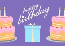 Happy birthday greeting card with birthday cake illustration Royalty Free Stock Photo