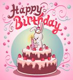 Happy birthday cake with strawberry,little bunny and one candle royalty free illustration