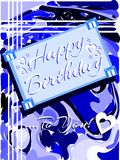 Happy birthday greeting card in blue tones Stock Photo