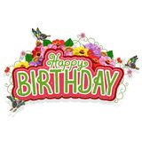 Happy birthday greeting card with a bouquet of flowers and butterflies royalty free illustration