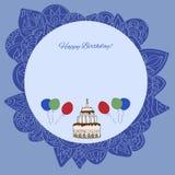 Happy birthday greeting card for boys. Illustration with birthday cake for boys.Decorative frame royalty free illustration