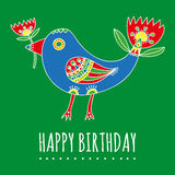 Happy Birthday greeting card. Bright fantastic bird with tulips Stock Photography