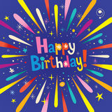 Happy Birthday greeting card. Happy Birthday burst explosion celebration greeting card Stock Images