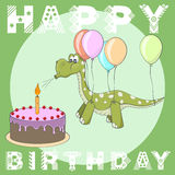 Happy Birthday greeting card. Cake, balloons, dino Stock Images