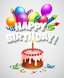 Happy birthday greeting card with cake and Stock Photo