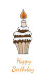 Happy Birthday greeting card with cake with candle. And text.  vector illustration Royalty Free Stock Photos