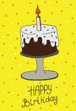 Happy Birthday greeting card with cake and candle. Vector illustration for graphic design, cards, posters, texture backgrounds, placards, banners, other Royalty Free Stock Image