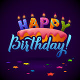 Happy Birthday Greeting Card. Cake with candles. Stock Images