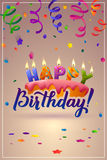 Happy Birthday Greeting Card. Cake with candles. Royalty Free Stock Photos