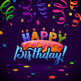 Happy Birthday Greeting Card. Cake with candles. Royalty Free Stock Images