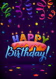 Happy Birthday Greeting Card. Cake with candles. Hand Lettering - handmade calligraphy, vector design Royalty Free Stock Photography