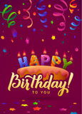 Happy Birthday Greeting Card. Cake with candles. Hand Lettering - handmade calligraphy, vector design Royalty Free Stock Photo