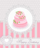 Happy Birthday greeting card with cake and lace. Vector illustration. Stock Photography