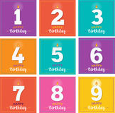 Happy Birthday greeting card with candles Stock Photo