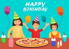 Happy Birthday Greeting Card Cartoon Template royalty free illustration