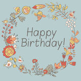 Happy birthday greeting card. circle floral frame Royalty Free Stock Photography