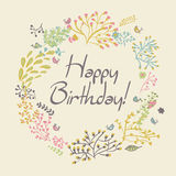 Happy birthday greeting card. circle floral frame. With cute cartoon bird and flower vector illustration