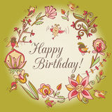 Happy birthday greeting card. circle floral frame Stock Images