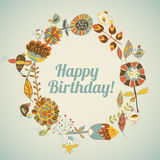 Happy birthday greeting card. circle floral frame Royalty Free Stock Image