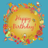Happy birthday greeting card. circle floral frame Royalty Free Stock Photo