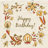 Happy birthday greeting card. circle floral frame Stock Photo