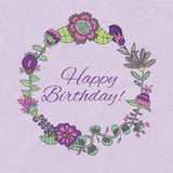 Happy birthday greeting card. circle floral frame Royalty Free Stock Photos