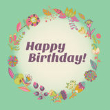 Happy birthday greeting card. circle floral frame Stock Photos