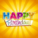 Happy Birthday Greeting Card. Colorful birthday greeting card with balloons and confetti Stock Photography