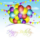 Happy Birthday greeting card with colorful balloons, confetti and flags. Vector illustration Stock Photos