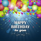 Happy Birthday greeting card with colorful balloons, confetti and flags. Vector illustration Royalty Free Stock Image