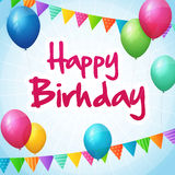 Happy birthday greeting card with colorful balloons and flags Royalty Free Stock Photography