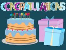 Happy birthday greeting card with birthday cake illustration Stock Image