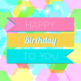 Happy Birthday Greeting Card. Colorful Happy Birthday Greeting Card Design Illustration Stock Photo