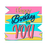 Happy Birthday Greeting Card. Colorful Happy Birthday Greeting Card Design Illustration Stock Images