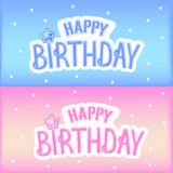 Happy birthday greeting card with colorful design stock illustration