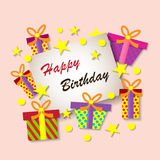 Happy Birthday Greeting Card. Colorful festive background. Royalty Free Stock Image