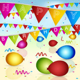 Happy Birthday  greeting card with colorful flags, ribbons and balloons. Happy Birthday greeting card with colorful flags, ribbons and balloons. Vector Royalty Free Stock Image