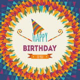 Happy birthday greeting card. On colorful geometric abstract background Royalty Free Stock Image