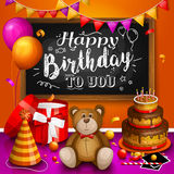 Happy birthday greeting card. Colorful gift box. Lots of presents. Party hat, photo frames, soap bubbles, teddy bear Royalty Free Stock Images