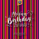 Happy birthday greeting card on colorful stripes background. Vector illustration. Royalty Free Stock Photography