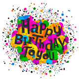 Happy birthday greeting card. Colorful stylish lettering on color drops. Vector illustration. Stock Photo