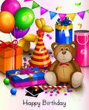 Happy birthday greeting card. Colorful wrapped gift boxes. Lots of presents and toys. Party balloons, dog balloon, hat, confetti, teddy bear, playing ball on Royalty Free Stock Photography