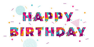 Happy Birthday greeting card confetti papercut multi color layers vector text. Happy Birthday greeting card template with festive color confetti stars and Stock Images